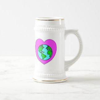 Corazón nuestro planeta jarra de cerveza