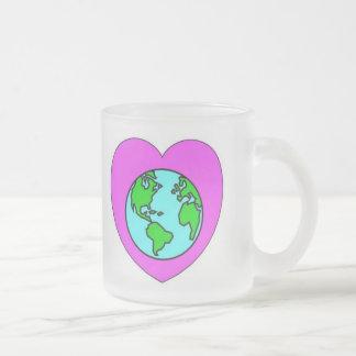 Corazón nuestro planeta taza de cristal