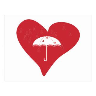 Corazón nupcial de la ducha tarjetas postales