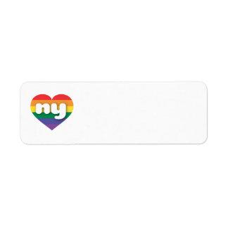 Corazón ny del orgullo del arco iris de Nueva York Etiquetas De Remite