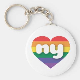 Corazón ny del orgullo del arco iris de Nueva York Llavero Redondo Tipo Pin