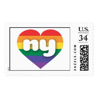 Corazón ny del orgullo del arco iris de Nueva York Sello