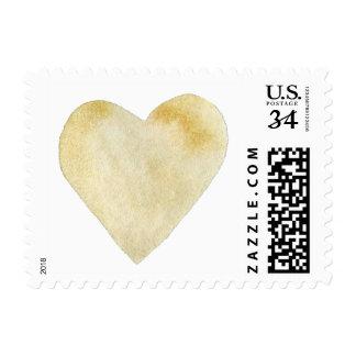Corazón ocre de la acuarela timbre postal