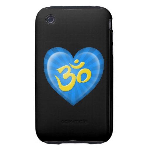 Corazón OM del amor de la yoga azul y amarillo en Tough iPhone 3 Protector