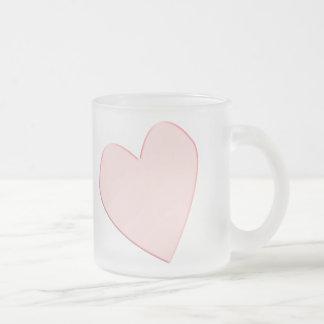 corazón opaco rosado taza de café