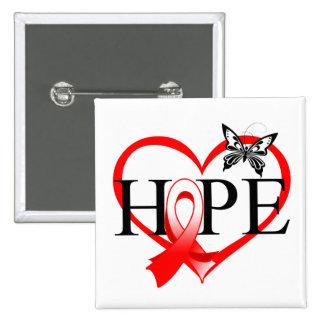 Corazón oral Décor de la mariposa de la esperanza Pins