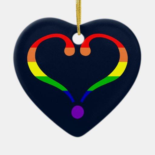 Corazón Orgullo y Arco Iris y amor de San Valentín Ornamento Para Reyes Magos