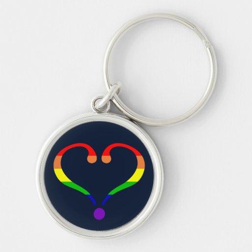 Corazón Orgullo y Arco Iris y amor de San Valentín Llaveros