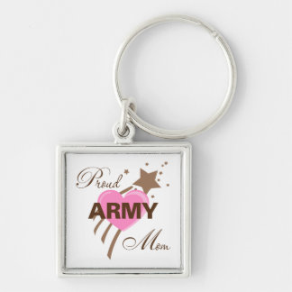 Corazón orgulloso de la mamá del ejército llavero