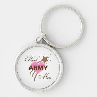 Corazón orgulloso de la mamá del ejército llaveros personalizados