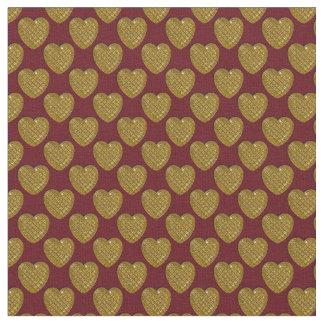 Corazón-Oro y Arándano-Tela brillantes Telas
