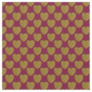 Corazón-Oro y Ciruelo-Tela brillantes Telas