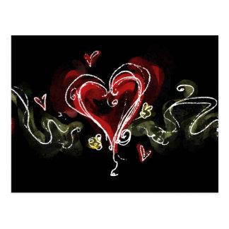 Corazón oscuro de Scribbly Postales