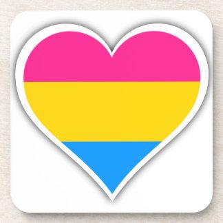 Corazón Pansexual de la bandera Posavasos De Bebida