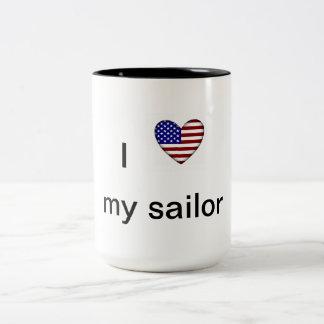 Corazón patriótico - amor de I mi marinero Taza De Dos Tonos