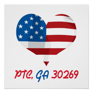Corazón patriótico con PTC, GA Perfect Poster