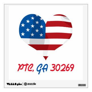 Corazón patriótico con PTC, GA Vinilo Adhesivo