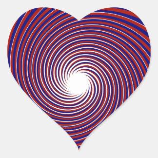 Corazón patriótico del giro pegatina en forma de corazón