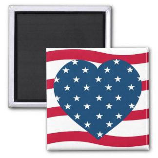 corazón patriótico imán cuadrado