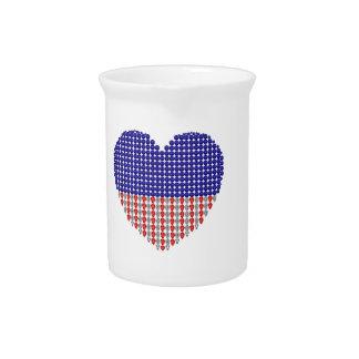 Corazón patriótico jarra para bebida