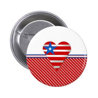 Corazón patriótico pin redondo de 2 pulgadas