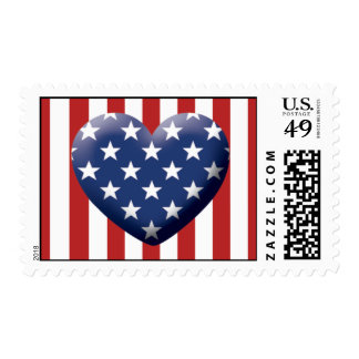 corazón patriótico timbre postal