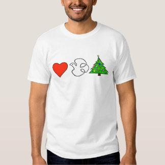 Corazón, paz, camiseta del navidad playera