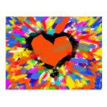 corazón, paz y amor coloridos tarjeta postal