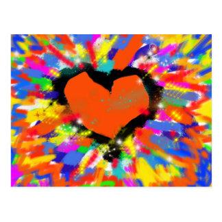 corazón, paz y amor coloridos postal