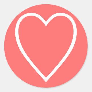 corazón pegatina redonda