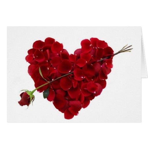 Corazón perfecto del rosa rojo con la tarjeta de f