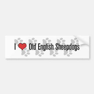 (Corazón) perros pastor ingleses viejos I Pegatina Para Auto