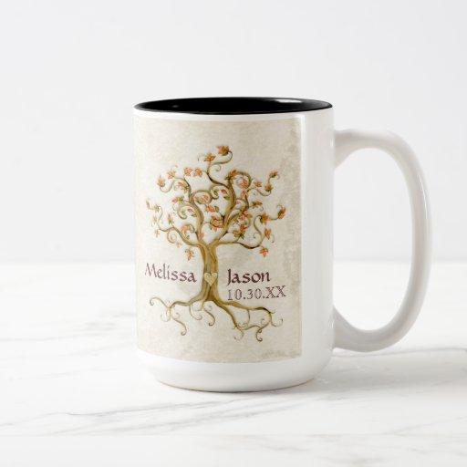 Corazón personalizado Antiqued raíces de los nombr Taza De Café