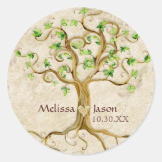 Corazón personalizado Antiqued raíces de los Etiquetas Redondas