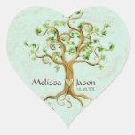 Corazón personalizado Antiqued raíces de los Pegatina De Corazón Personalizadas