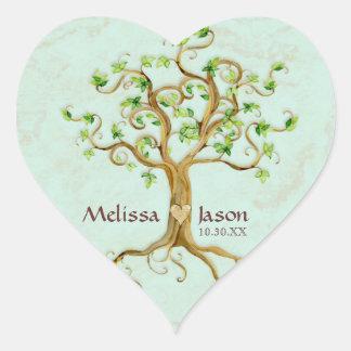 Corazón personalizado Antiqued raíces de los Pegatina En Forma De Corazón