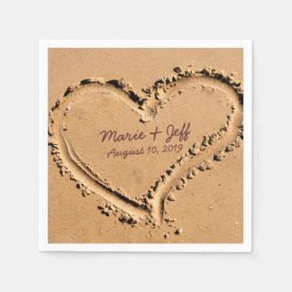 Corazón personalizado del boda del amor de la servilleta de papel