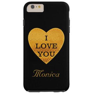 Corazón personalizado del negro y del oro te amo funda de iPhone 6 plus tough