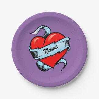 Corazón personalizado del tatuaje platos de papel