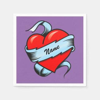 Corazón personalizado del tatuaje servilleta desechable