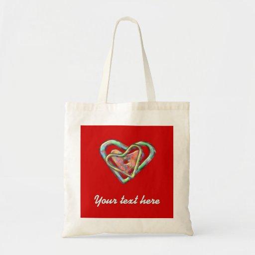 Corazón personalizado triple rojo bolsa tela barata