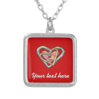 Corazón personalizado triple rojo colgante cuadrado