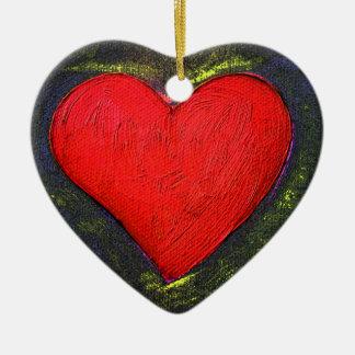 Corazón pintado adorno navideño de cerámica en forma de corazón