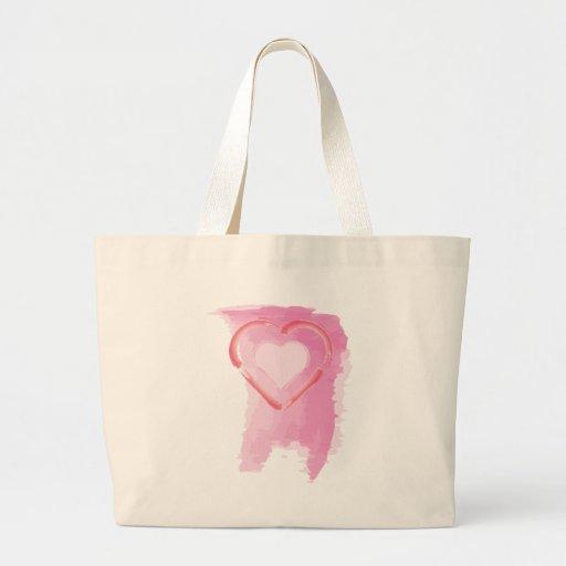 Corazón pintado bolsa tela grande
