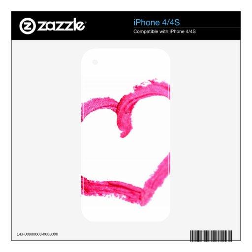 Corazón pintado rosa calcomanía para iPhone 4