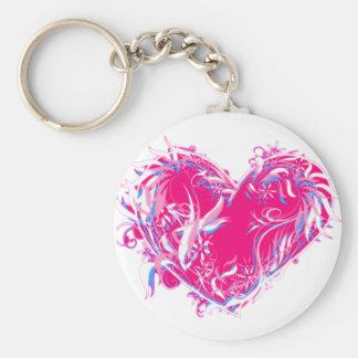Corazón plumoso de Fuschia Llavero Redondo Tipo Pin