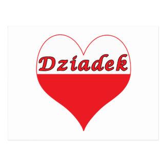 Corazón polaco de Dziadek Tarjeta Postal