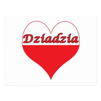 Corazón polaco de Dziadzia Tarjetas Postales