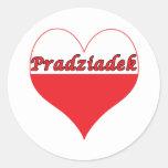 Corazón polaco de Pradziadek Pegatina Redonda
