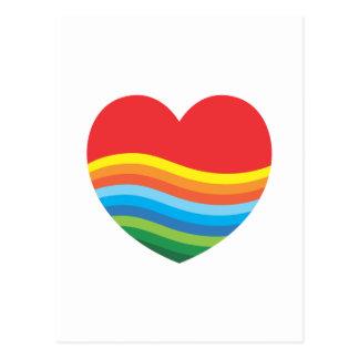 Corazón popular del regalo del arco iris actual tarjeta postal